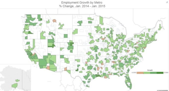 Fastest Growing Job Markets of 2014-map1
