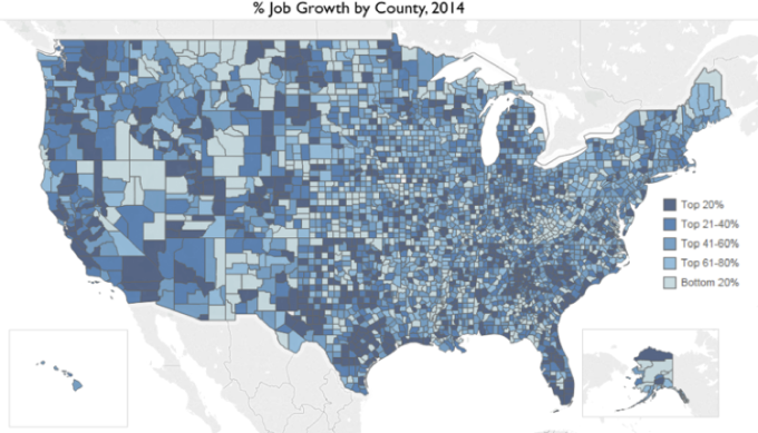 Large County Job Growth Map