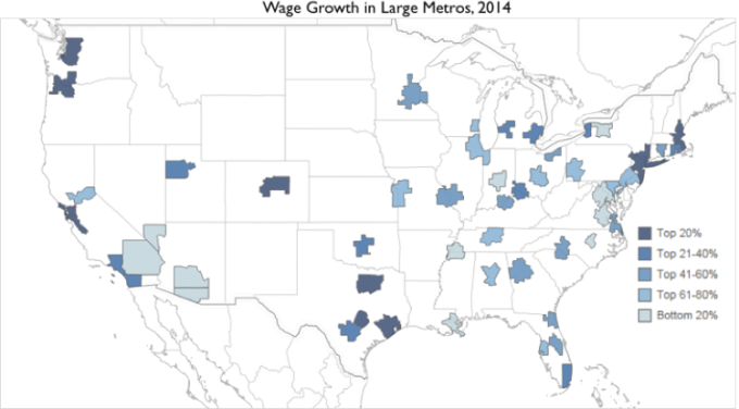 Wage Growth Map Large Metros
