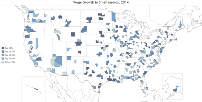 Wage Growth Map Small Metros