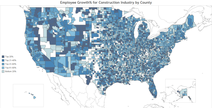Employee Growth for Construction Industry by County