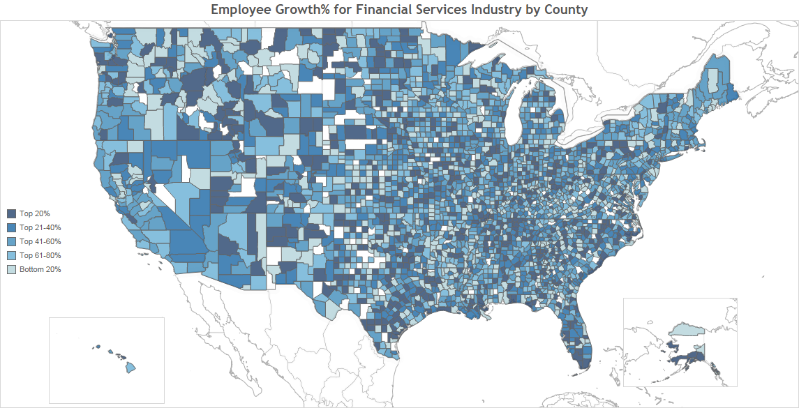 Employee Growth for Financial Services Industry by County to post