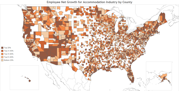 Employee Net Change for Accommodation Industry by County