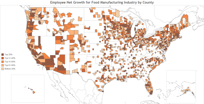 Employee Net Growth for Food Manufacturing Industry by County