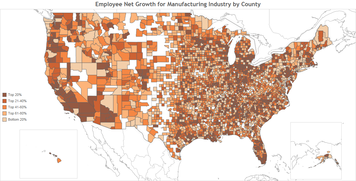 Employee Net Growth for Manufacturing Industry by County to post