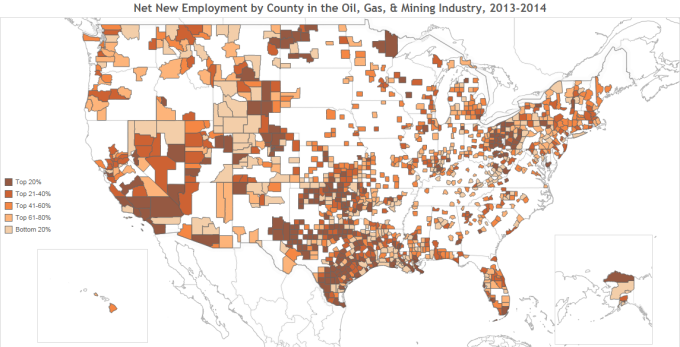 Employee Net Growth for Oil, Gas, & Mining Industry by County