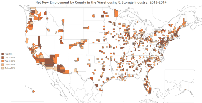 Employee Net Growth for Warehousing & Storage Industry by County