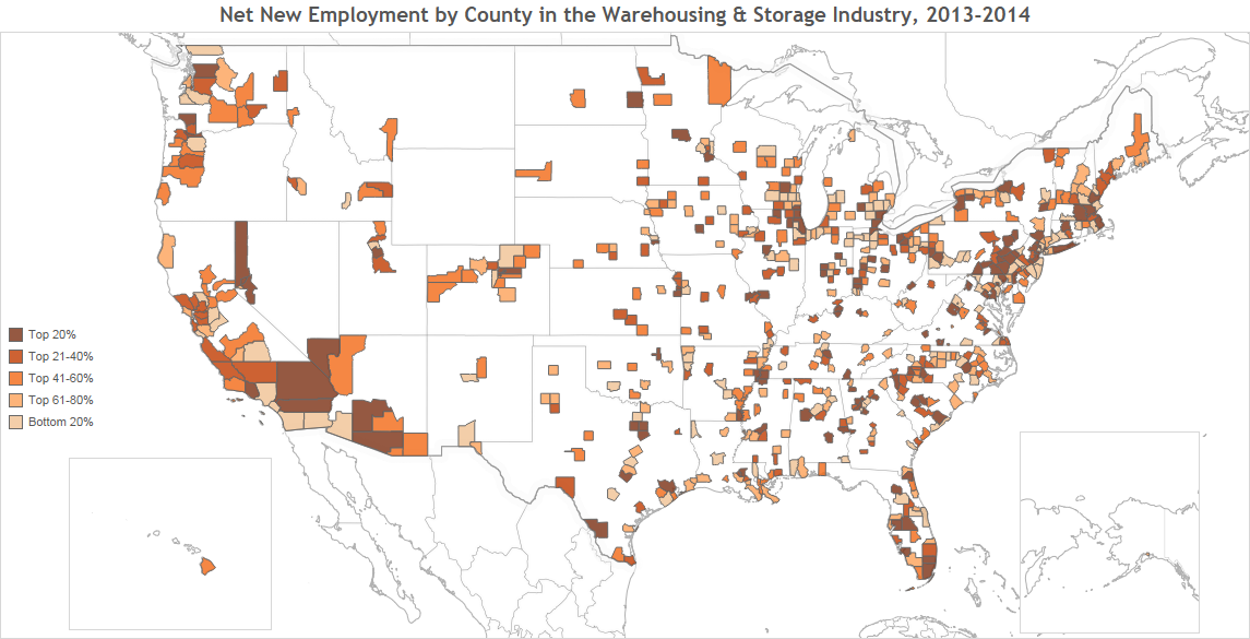 Employee Net Growth For Warehousing Storage Industry By County