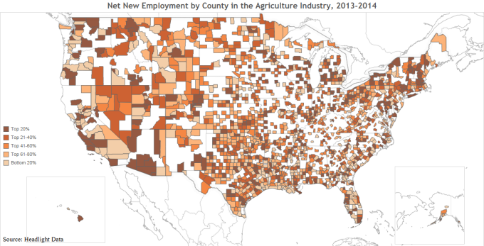 Net New Employment by County in the Agriculture Industry, 2013-2014