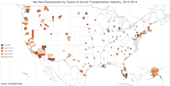Net New Employment by County in the Air Transportation Industry, 2013-2014