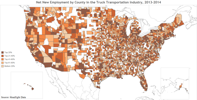 Net New Employment by County in the Truck Transportation Industry, 2013-2014