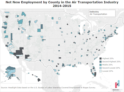 Net New Employment by County air
