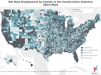 Net New Employment by County construction