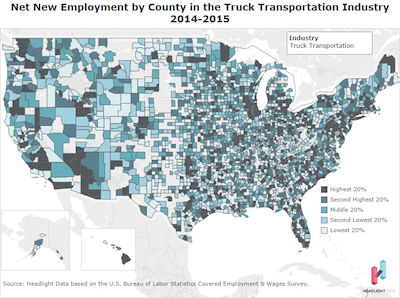 Net New Employment by County transport