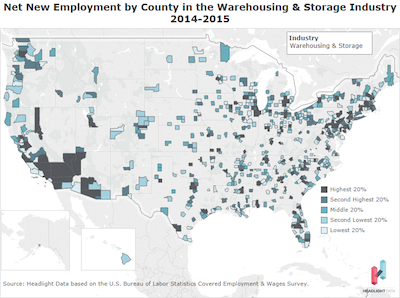 Net New Employment by County warehouse
